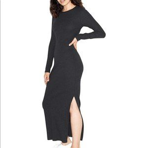 American Apparel Black Long Sleeve Slit Dress Rib